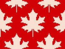L'érable part sur le rouge - modèle de tricotage sans couture Image stock