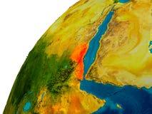 L'Érythrée sur le globe Image stock