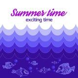 L'été d'affiche est temps passionnant, avec des vagues de mer et la vie marine illustration de vecteur