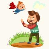 L'été, enfant joyeux heureux, amusement de papa jette le fils dans le ciel, illustration de vecteur d'activité de famille d'été d illustration stock