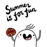 L'été est pour l'illustrtion tiré par la main d'amusement avec la guimauve mignonne jouant au basket-ball illustration de vecteur