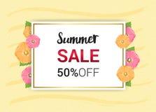 L'été fleurit la conception florale de cadre ou d'été sur le backgroun jaune Photos libres de droits