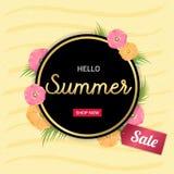 L'été fleurit le cadre d'or ou la conception florale d'été sur le dos de jaune Photo stock