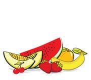 L'été porte des fruits composition illustration stock