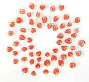 L'été porte des fruits fond Modèle frais de fraises sur le fond blanc Photo stock