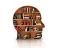 L'étagère en bois sous forme de tête humaine et les livres avec se reflètent Images stock