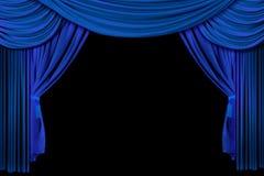 L'étape drapent des rideaux sur le fond noir illustration de vecteur