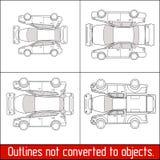 L'état et l'inspection de contrôle de véhicule de collecte de suv de berline avec hayon arrière de berline de voiture forment illustration de vecteur