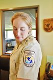 L'état Etats-Unis de la Virginie soutiennent l'emblème de garde forestière de réserve de baie Images stock