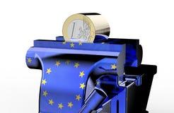 L'étau est tenant et serrant l'euro pièce de monnaie illustration de vecteur