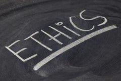 L'éthique exprime sur le tableau noir Image libre de droits