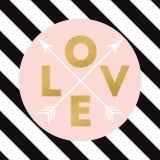 L'étincelle d'or marque avec des lettres l'amour avec la flèche sur les lignes noires fond de diagonale pour la copie, le signe o Image stock