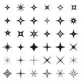 L'étincelle tient le premier rôle des icônes Symboles d'étincelle, reflet lueur, etc. Illustration Stock