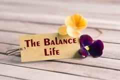 L'étiquette de la vie d'équilibre photographie stock