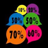 L'étiquette de vente a placé 10, 20,30,50,60,70 pour cent Image stock