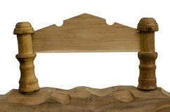 L'étiquette effectuent avec du bois. photographie stock