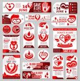 L'étiquette, le label et la bannière de jour de donneur de sang du monde conçoivent illustration de vecteur