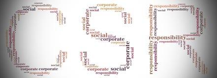L'étiquette ou le CSR de nuage de mot s'est rapportée dans la forme du CSR Images libres de droits