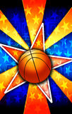 L'étoile de basket-ball a éclaté l'orange Image libre de droits