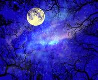 L'étoile de nuit skay avec la lune Photo stock