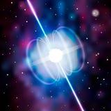L'étoile neutron fait des vagues de rayon de rayonnement dans l'univers profond Blitzar pulsar Illustration de vecteur illustration de vecteur