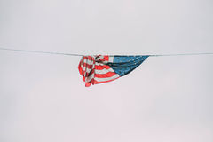L'étoile a orné le drapeau de paillettes photo libre de droits