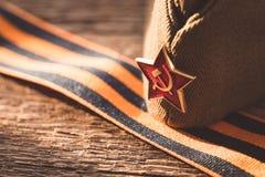 L'étoile soviétique d'armée rouge, symbole de la deuxième guerre mondiale, Victory Day concept de carte postale du 9 mai Image stock