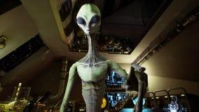 L'étranger appuie sur les touches sur l'écran hologaphic de la science fiction rendu 3d illustration de vecteur