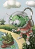 L'étranger drôle dans le costume regarde la grenouille illustration libre de droits