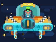 L'étranger jure dedans un taxi de l'espace parmi les étoiles illustration stock