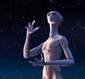 L'étranger regarde vers le ciel Photo stock