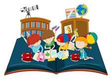 L'étude d'étudiant dans la salle de classe sautent le livre illustration libre de droits