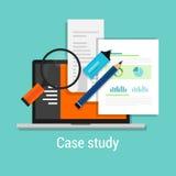 L'étude de cas étudie la loupe plate d'ordinateur portable d'icône illustration stock