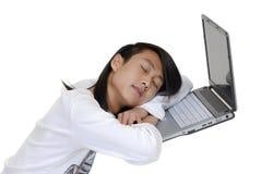L'étudiant et l'ordinateur portatif Image stock