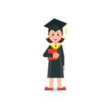 L'étudiant heureux a reçu un diplôme le chapeau et la robe de port de panneau de mortier illustration de vecteur