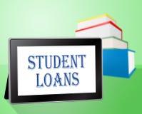 L'étudiant Loans Represents Www prête et des étudiants Photo stock