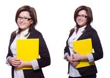 L'étudiante avec des livres sur le blanc Image stock