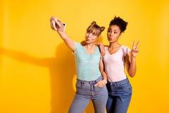 L'étudiante avec du charme géniale de deux personnes de portrait faire des lèvres de voyage d'été de v-signe de photo a boudé le  images libres de droits