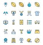 L'événement du football a isolé les icônes de vecteur a placé qui peuvent être facilement modifiées ou éditées illustration stock