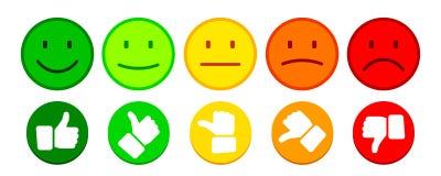L'évaluation par des émoticônes avec des pouces boutonnent - le vecteur illustration de vecteur