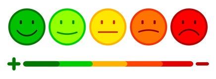 L'évaluation par des émoticônes, a placé l'émotion souriante, par des smilies, des émoticônes de bande dessinée - vecteur illustration de vecteur
