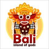 L'île de Bali des dieux signent avec le masque traditionnel lumineux de Barong de Balinese d'isolement sur le fond blanc illustration stock
