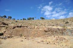L'île de la lune est située sur le Lac Titicaca Image libre de droits