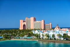 L'île-hôtel de paradis de l'Atlantide, située dans les Bahamas Photo libre de droits