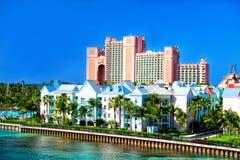 L'île-hôtel de paradis de l'Atlantide, située dans les Bahamas Image libre de droits