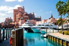 L'île-hôtel de paradis de l'Atlantide, située dans les Bahamas Images libres de droits