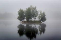 L'île très petite brumeuse sur le lac brumeux en quelques heures de matin s'allument Image libre de droits