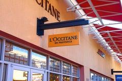 L `在商店前面标志的Occitane商标 免版税库存照片
