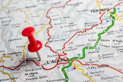 L& x27;天鹰座在意大利的地图别住了 免版税库存图片
