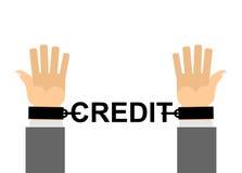 Руки заковыванные с кредитом цепей Финансовое рабство Наши наличные деньги l Стоковое Изображение